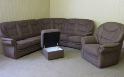 "Vokiškas Kampas +fotelis+pufas ""HOME PLAN"" www.bramita.lt"