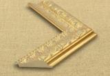 Klasikinis platus šviesios auksinės spalvos ornamentuotas rėmas su pilkais akcentais