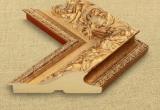Platus auksinės spalvos sendintas rėmas su ornamentais ir tamsiais akcentais