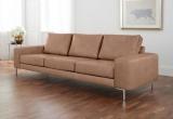 Minkšta sofa Nr164 smėlio spalvos natūrali oda+pufas