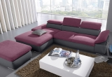 Minkštas kampas L formos Nr51 pilka/violetine su miego funkcija