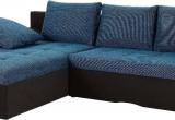 Minkštas kampas L formos Nr185 juoda/mėlyna su miego funkcija ir deze