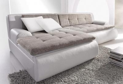 Minkštas kampas L formos Nr15 balta/pilka su miego funkcija ir deze