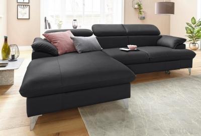 Minkštas kampas L formos Nr108(1) juoda natūrali oda su miego funkcija