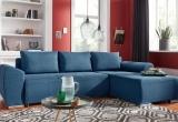 Minkštas kampas L formos Nr147 mėlynas su miego funkcija ir dėže patalynei