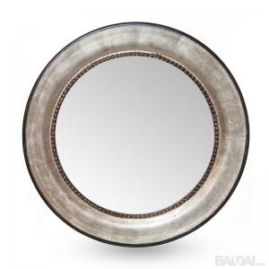 Veidrodis ovalus medienos plaušo rėme sidabrinis 60x60 (išorė 82x82) (3004835)