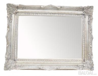 Veidrodis su mediniu rėmu 60x90 (išorė 90x120) sidabro spalvos (3004843)