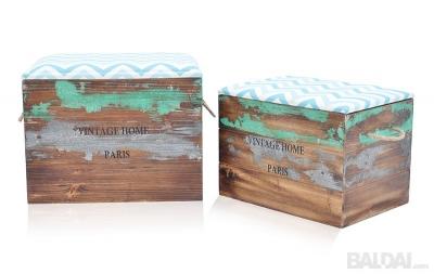 Dėžė-pufas medinė 2 vnt. (3021127)