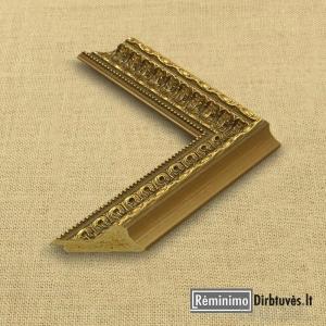 Klasikinis tamsaus aukso spalvos ornamentuotas plastikinis rėmas su tamsiais akcentais