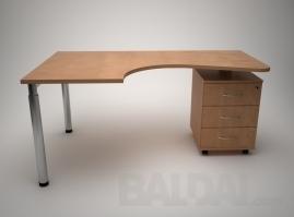 Darbo stalas su stalčių konteineriu