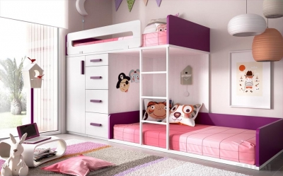 Dviaukštė lova su spinta (2)