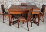 Senovinis valgomojo stalas su kėdėmis