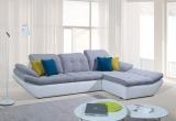 Kampinė sofa su miegojimo mechanizmu ir dėže patalynei (Kombin. oda ir gobelenas)