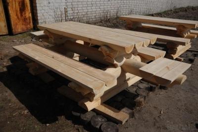 Lauko baldų komplektas Nr.3 (3) su sujungtais 4 suolais