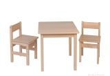 TROLL Staliukas ir 2 kėdutės, natūralios spalvos