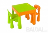 Vaikiškas baldų komplektas: stalas ir 2 kėdutės, oranžinis - žalias